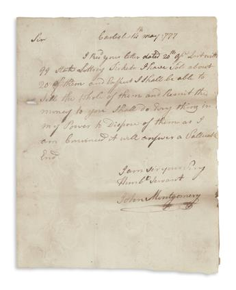 MONTGOMERY, JOHN. Two Autograph Letters Signed, to PA State Lottery Co-Manager David Jackson,