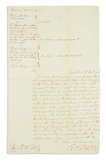 (SLAVERY AND ABOLITION.) Letter attempting to secure testimony against an illegal slave trader.