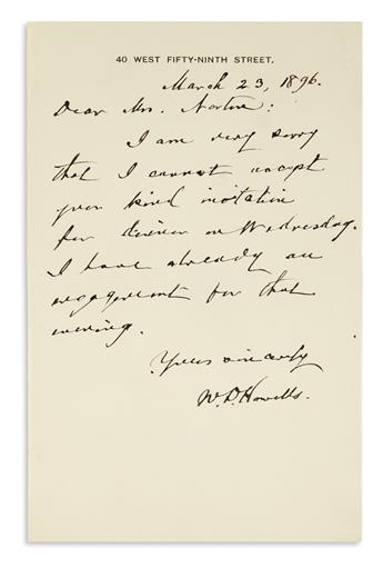 HOWELLS, WILLIAM DEAN. Brief Autograph Letter Signed, W.D. Howells, to Dear Mrs. Norton,