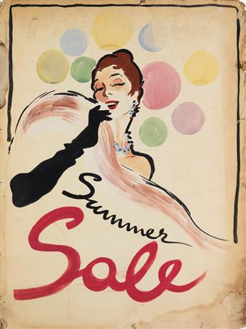 IN THE STYLE OF RENÉ GRUAU. SUMMER SALE. Gouache, ink and pencil maquette. 39x30 inches, 101x76 cm.