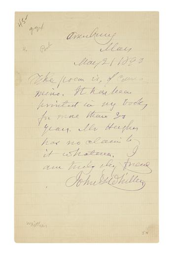 WHITTIER, JOHN GREENLEAF. Three items, each Signed, JohnGWhittier: Two Autograph Letters * Signature, on a slip of paper.