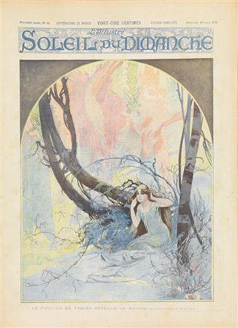 COVER BY ALPHONSE MUCHA (1860-1939). SOLEIL DU DIMANCHE / LE CARILLON DE PAQUES. Magazine. March 29, 1896. 15x11 inches, 40x29 cm. Vaug