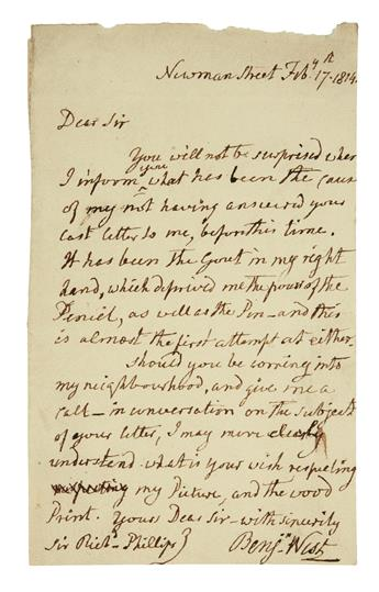 WEST, BENJAMIN. Autograph Letter Signed, Benjn West, to Richard Phillips,
