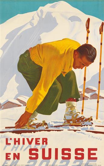 ERICH HERMES (1881-1971). LHIVER EN SUISSE. 1930. 39x24 inches, 99x62 cm. Sauberlin & Pfeiffer, Vevey.