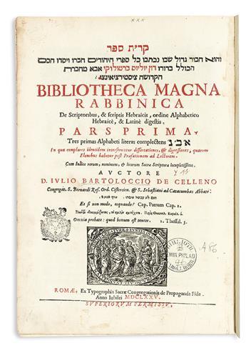 BARTOLOCCI, GIULIO. Bibliotheca magna rabbinica. 4 vols. 1675-93 + IMBONATI, CARLO GIUSEPPE.  Bibliotheca Latino-Hebraica. 1694