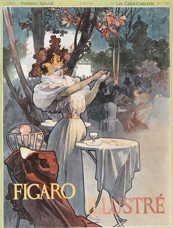 COVER BY ALPHONSE MUCHA (1860-1939). FIGARO ILLUSTRÉ. Issue No. 75. June, 1896. 16x12 inches, 41x31 cm. Ch. Lorilleux & Cie., Paris.