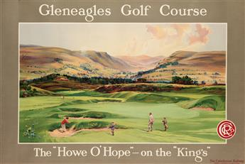 DESIGNER UNKNOWN. GLENEAGLES GOLF COURSE / THE HOWE O HOPE - ON THE KINGS. Circa 1920. 39x59 inches, 101x151 cm. Dobson Molle & C