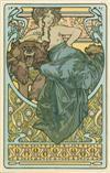 ALPHONSE MUCHA (1860-1939). [WOMAN AND BEAR.] Documents Décoratifs pl. 47. 1902. 18x12 inches, 46x33 cm. [Librairie Centrale des Beaux