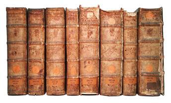 AUGUSTINUS, AURELIUS, Saint.  Prima[-undecima] pars librorum. 11 vols. in 8.  1505-06.  Lacks title to De civitate Dei.