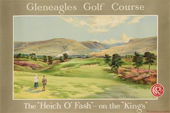 DESIGNER UNKNOWN. GLENEAGLES GOLF COURSE / THE HEICH O FASH - ON THE KINGS. Circa 1920. 39x59 inches, 101x151 cm. Dobson Molle &