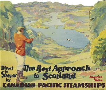 DESIGNER UNKNOWN. THE BEST APPROACH TO SCOTLAND / CANADIAN PACIFIC STEAMSHIPS. Foldout window card. 16x19 inches, 10x48 cm.