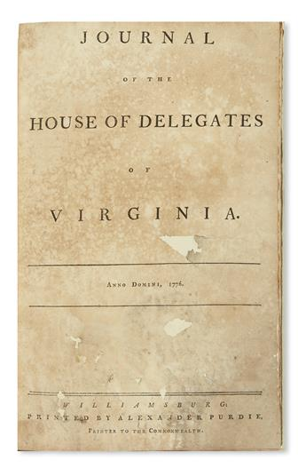 (AMERICAN REVOLUTION--1776.) Journal of the House of Delegates of Virginia