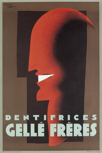 JEAN CARLU (1900-1997). DENTIFRICES / GELLÉ FRÈRES. 1980. 31x21 inches, 80x53 cm. Bedos, Paris.