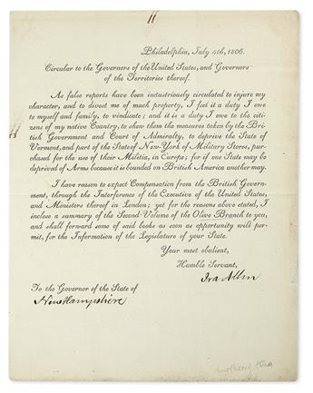 (VERMONT.) ALLEN, IRA. Printed Letter Signed, to the Governor of New Hampshire,