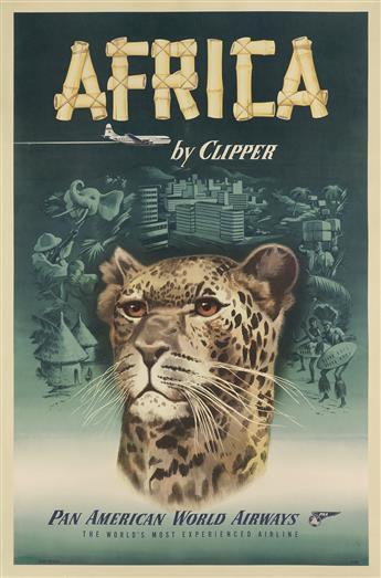 DESIGNER UNKNOWN. AFRICA BY CLIPPER / PAN AMERICAN WORLD AIRWAYS. Circa 1950. 42x25 inches, 107x63 cm.