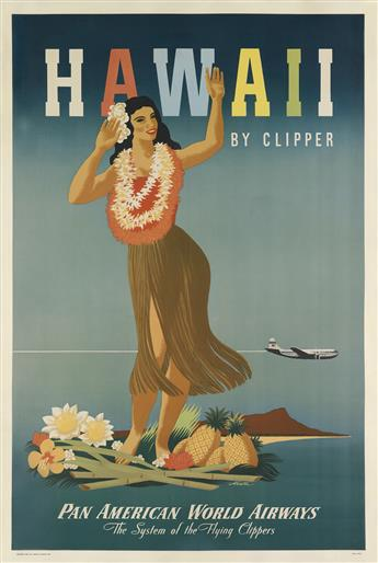 JOHN ATHERTON (1900-1952). HAWAII BY CLIPPER / PAN AMERICAN WORLD AIRWAYS. 1948. 42x28 inches, 106x71 cm.
