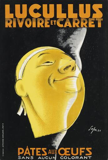 SEPO (SEVERO POZZATI, 1895-1983). LUCULLUS RIVOIRE ET CARRET. Windowcard. 1931. 19x12 inches, 48x32 cm. Affiches Dorland, Paris.
