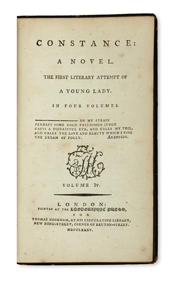 HAWKINS, LAETITIA-MATILDA.  Constance:  A Novel. The First Literary Attempt of a Young Lady.  4 vols.  1785