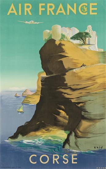 RAOUL ERIC CASTEL (1915-1997). AIR FRANCE / CORSE. 1949. 38x24 inches, 98x61 cm. Havas, [Paris.]