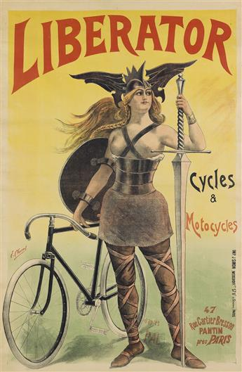 DAPRÈS PAL (JEAN DE PALÉOLOGUE, 1860-1942). LIBERATOR / CYCLES & MOTOCYCLES. Circa 1899. 77x50 inches, 197x128 cm. J. Simon Weisshoff,