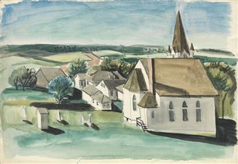 FAIRFIELD PORTER Landscape with a White Church.
