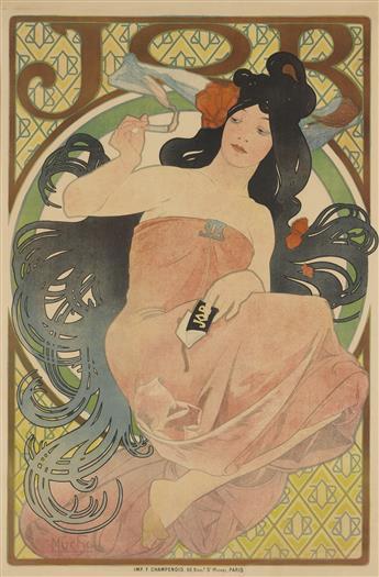 ALPHONSE MUCHA (1860-1939). JOB. 1898. 58x38 inches, 148x97 cm. F. Champenois, Paris.