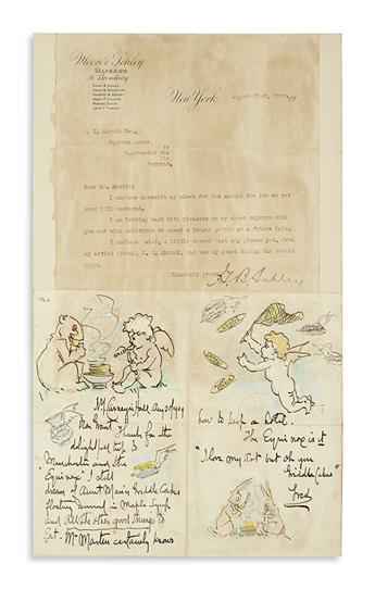CHURCH, FREDERICK STUART. Illustrated Autograph Letter Signed, Fred, to Grant B. Schley (Dear Grant),