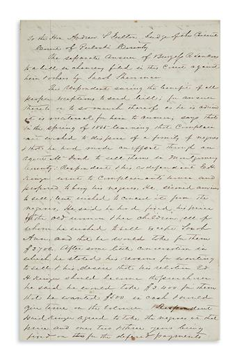 (SLAVERY AND ABOLITION.) Testimony regarding a complicated slave sale in western Virginia.