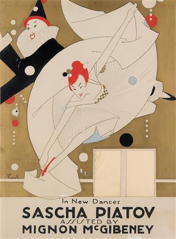 ALFONSO IANNELLI (1888-1965). SASCHA PIATOV. Tempera, metallic ink & pencil showcard. Circa 1913. 38x28 inches, 97x72 cm.