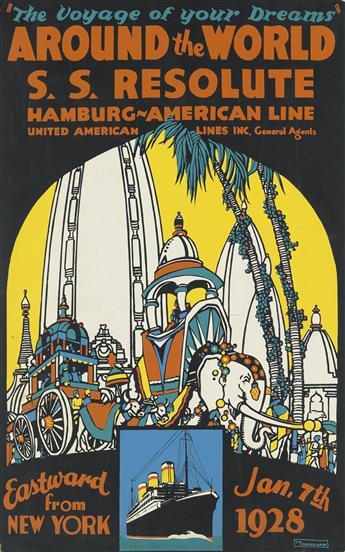 CLAUDE E. MILLARD (1887-1960). AROUND THE WORLD / S.S. RESOLUTE / HAMBURG - AMERICAN LINE. 1928. 26x16 inches, 66x42 cm.