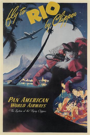 MARK VON ARENBURG (DATES UNKNOWN). FLY TO RIO BY CLIPPER / PAN AMERICAN WORLD AIRWAYS. Circa 1947. 42x28 inches, 106x71 cm.