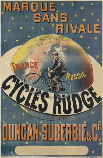 DESIGNER UNKNOWN. CYCLES RUDGE / MARQUE SANS RIVALE. Circa 1896. 58x38 inches, 149x97 cm. F. Appel, Paris.