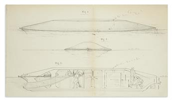 (SCIENCE AND ENGINEERING.) Catlin, George. Partial manuscript patent application for a Submarine Battery with illustrations.