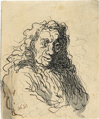 HONORÉ DAUMIER Un homme aux cheveux longs.