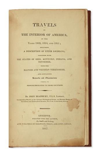 (TRAVEL.) Bradbury, John. Travels in the Interior of America, in the Years 1809, 1810, and 1811.