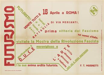 FILIPPO TOMMASO MARINETTI (1876-1944) & LAMBERTO LEANDRI (DATES UNKNOWN). FUTURISMO. 1932. 25x64 inches, 61x87 cm.