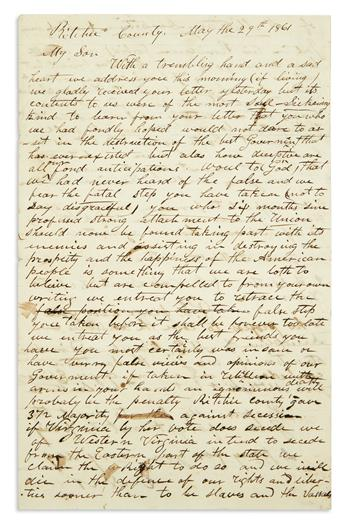 (CIVIL WAR--CONFEDERATE.) Nutter, C.N. A heartbroken letter to a new Confederate recruit from his devoted Unionist parents.