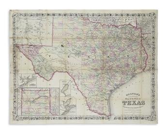 COLTON, G.W.; and COLTON, C.B. Coltons New Medium Map of the State of Texas.