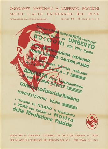GIACOMO BALLA (1871-1958). UMBERTO BOCCIONI / CONGRESSO FUTURISTA ITALIANO. 1933. 34x25 inches, 82x61 cm.