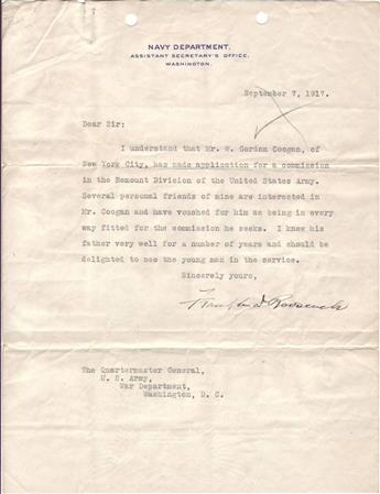 ROOSEVELT, FRANKLIN D. Typed Letter Signed, as Assistant Secretary of the Navy, to The Quartermaster General,