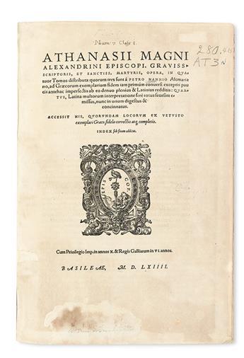 ATHANASIUS, Saint, Patriarch of Alexandria. Opera.  1564