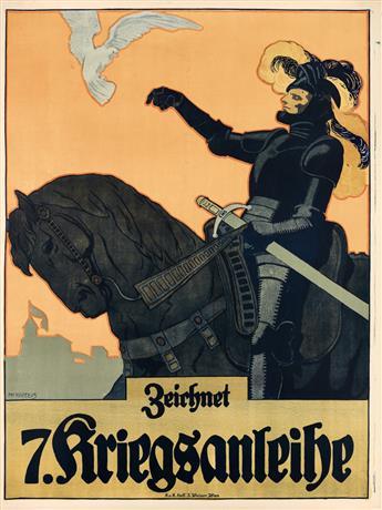 ADOLF KARPELLUS (1869-1919). ZEICHNET / 7. KRIEGSANLEIHE. 1917. 49x37 inches, 125x94 cm. J. Weiner, Vienna.