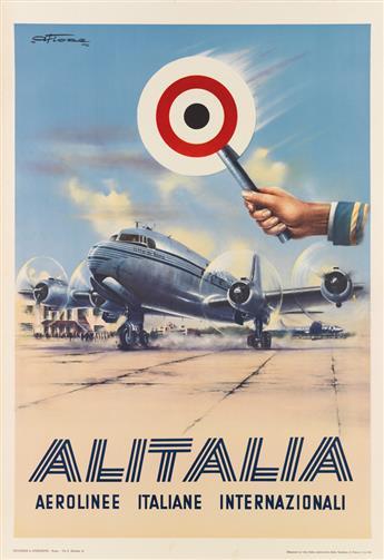 AMLETO FIORE (1920-2008). ALITALIA. 1950. 39x27 inches, 100x70 cm. Vecchioni & Guadagno, Rome.