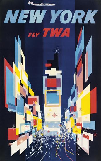 DAVID KLEIN (1918-2005). NEW YORK / FLY TWA. 1956. 39x24 inches, 99x62 cm.