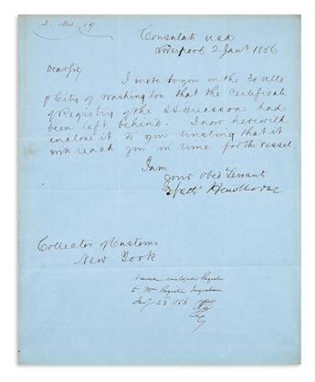 HAWTHORNE, NATHANIEL. Autograph Letter Signed, Natl Hawthorne, to the Collector of the Port of New York [Heman J. Redfield],