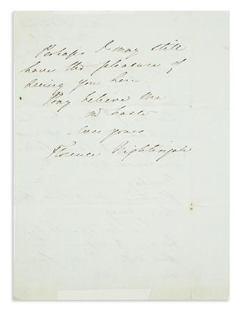 NIGHTINGALE, FLORENCE. Autograph Letter Signed, to an unnamed recipient (My Dear Madam),
