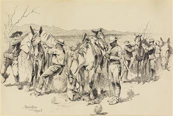 FREDERIC REMINGTON. (AMERICAN ART / WESTERN / COWBOYS / BUFFALO SOLDIER) A Halt to Tighten the Packs.
