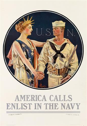 JOSEPH C. LEYENDECKER (1874-1951). AMERICA CALLS / ENLIST IN THE NAVY. 1917. 40x28 inches, 116x71 cm. U.S. Navy Publicity Bureau, New Y