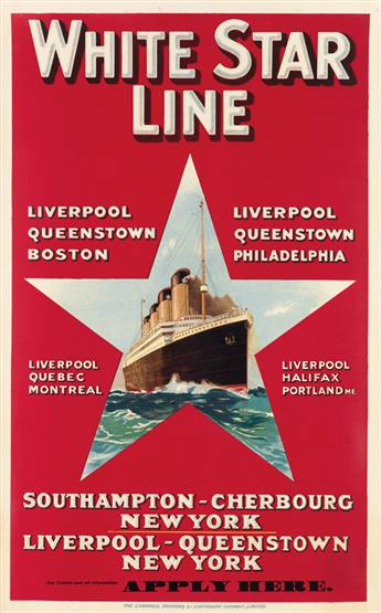 DESIGNER UNKNOWN. WHITE STAR LINE / [OLYMPIC.] Circa 1920s. 40x25 inches, 101x63 cm. The Liverpool Printing & Stationery Company, Limit