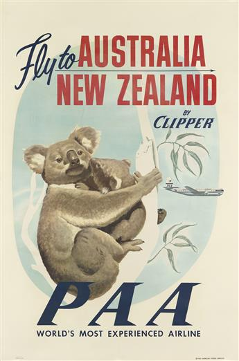 DESIGNER UNKNOWN. FLY TO AUSTRALIA / NEW ZEALAND BY CLIPPER / PAA. Circa 1950. 42x25 inches, 106x63 cm.